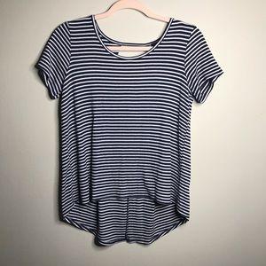 W5 Striped High Low Blouse Blue & White